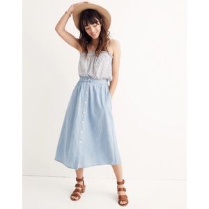 Madewell Palisade Button-Front Midi Skirt Indigo